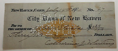 Original 1900 City Bank of New Haven Connecticut Cancelled Check