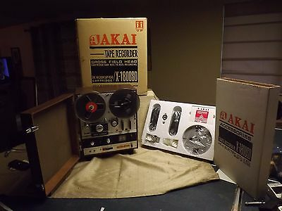 Vintage Akai X-1800sd Reel to Reel Crossfield  8 Track Player W/ Accessories Kit