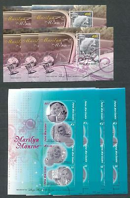 PAPUA NEW GUINEA PNG 2008 MARILYN MONROE Mini Sheets MNH x 10(Pap128)