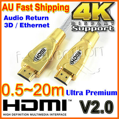 Premium HDMI Cable V2.0 Gold Plated 3D 4K Ultra HD Audio HighSpeed 0.5m ~ 20m