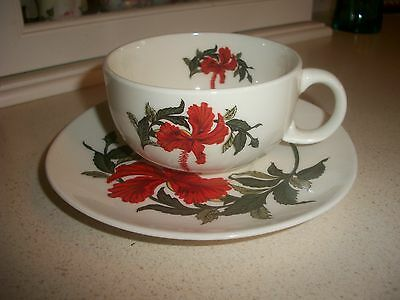 """Crooksville Iva-Lure Red """" Hibiscus """" Cup & Saucer Produced Circa  1949"""