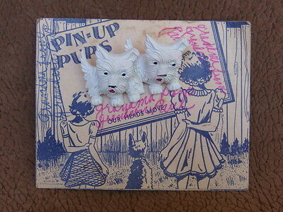 Vintage Plastic Pair SCOTTISH TERRIER Dog Pin-up Pup Movable heads Brooch