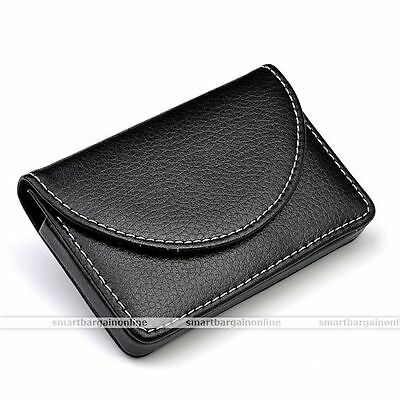 PU Leather Business Name Credit ID Card Holder Wallet Case Keeper Black