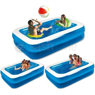 New Large Jumbo Deluxe Rectangular Inflatable Family Swimming Paddling Pool Fun