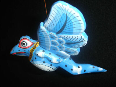 Bali Flying Frog Mobile winged Demon Chaser carved wood Balinese Art Blue 12""