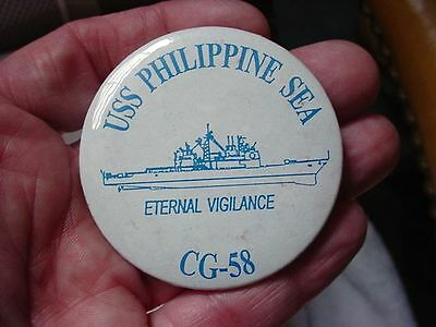 US Navy USS Philippine Sea CG-58 Guided Missile Cruiser Large Pin Back Button