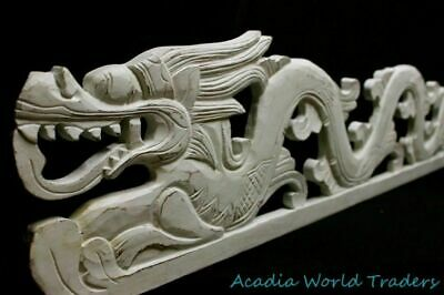 Cosmic Dragon Naga Panel Whitewash Rustic carved wood Bali Wall Art left 39""
