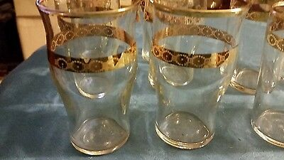 Libbey Victoria 22k gold etched set of 12 juice tumblers  3  3/4 inches