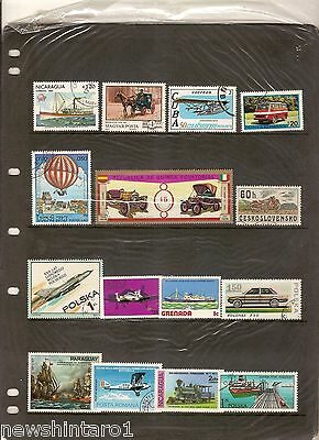 #t43.  Two Pages Of  Transport   Thematic Stamps