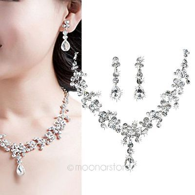 New Women Bridal Party Jewelry Set Crystal Rhinestone Diamante Necklace Earrings
