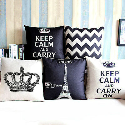 Awesome Home Decor Linen Cotton Blended Crown Cushion Cover Throw Pillow Case