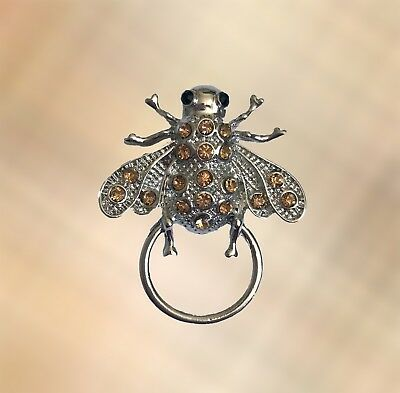New BEE Amber Crystal Eye Glasses / Spectacle Hanger Brooch / Pin Holder