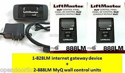 828LM Internet Gateway + (2x) 888LM MyQ Control Panel - LiftMaster Combo Pack
