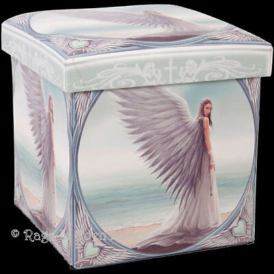 *SPIRIT GUIDE* Goth Fantasy Angel Art Printed Leatherette Stool By Anne Stokes