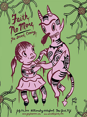 FAITH NO MORE New York 2010 poster by Gary Baseman - Green