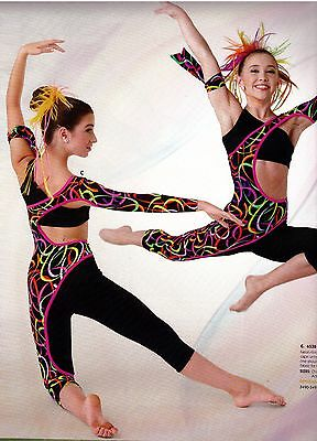 NWT UNIQUE Jazz ACRO UnitardLadies Sizes Asymmetrical cutout Unitard multicolor
