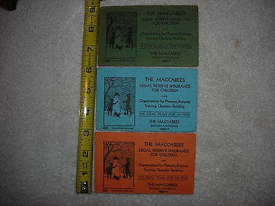 VINTAGE LOT 3 ADVERTISING PIECE'S MACCABEES INSURANCE FOR CHILDREN DETROIT MICH