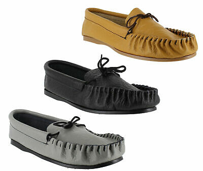 Mens British Hand Made Leather Moccasins Moccs Slippers Shoes Sizes UK 6 to 13