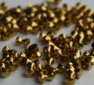 Brass Gold Head Dumbbell Beads for Fly Tying X 100pcs 3mm, 3.5mm & 4mm