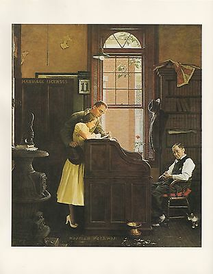 "1977 VINTAGE ""MARRIAGE LICENSE"" NORMAN ROCKWELL MINI POSTER COLOR Art Lithograph"
