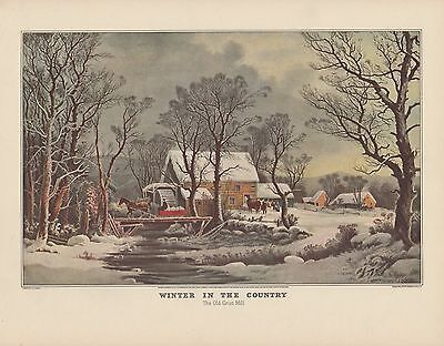 """1952 Vintage Currier & Ives """"COUNTRY IN WINTER, OLD GRIST MILL"""" COLOR Lithograph"""