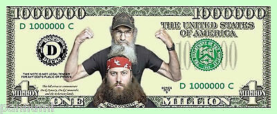 *DUCK DYNASTY* 1 Million Dollars Novelty paper banknote (2 banknotes)
