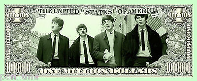 *THE BEATLES* 1 Million Dollars Novelty paper banknote (2 banknotes)