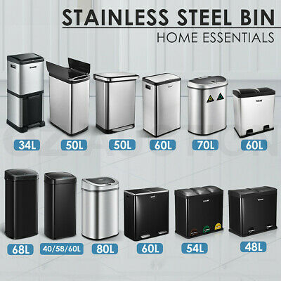 Stainless Steel Rubbish Bin Pedal Separated Garbage Trash Can 48 50 58 60 68L