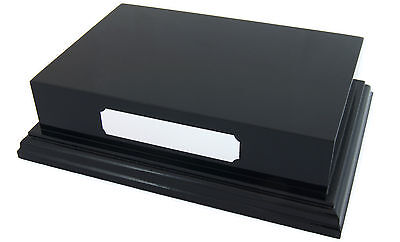 """Black Display Plinth Base Gloss 6x4"""" Top for Ornaments Trophy can Engrave Plaque"""