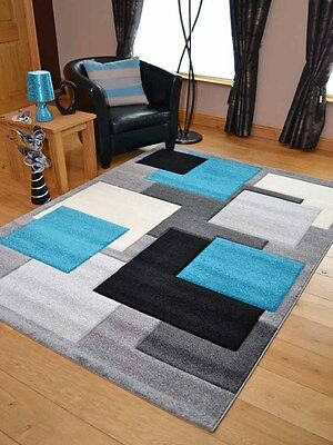 Modern Thick Soft Quality Turquoise Blue Black Floor Mat Rugs Long Hall Runners