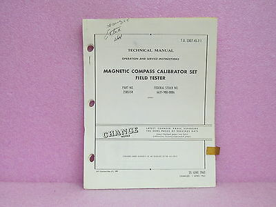 Military Manual 2585154 Mag. Compass Calibr. Set Field Tester OPR/SVC Man. w/Sch