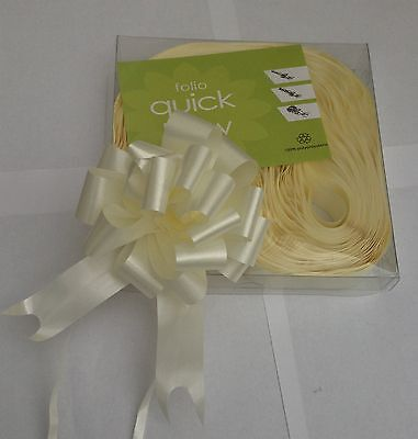 10 Ivory Cream Quick Bow Pull Ribbons 30mm Party Decorations Wedding Christening