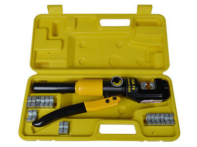 10-Ton Hydraulic Crimping Wire Battery Cable Crimper Lug Terminal Tool w/ 9 Dies