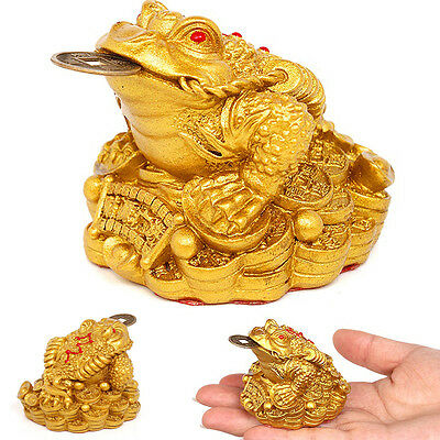Feng Shui Money LUCKY Fortune Oriental Chinese I Ching Frog Toad Coin Home Decor