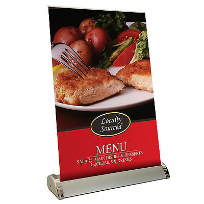 Desktop Roller Banner Display Stand - Pop / Pull / Roll Up Sign Exhibition Show