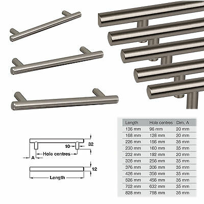 T Bar Kitchen Door Drawer Cupboard Handles Brushed Nickel Finish 98mm - 756mm