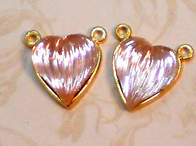 Vintage Heart Charms Rhinestone 12x14mm Connectors Pink Ribbed Art Deco #1096D