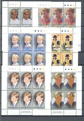PAPUA PNG  2002 Prince William Royalty Set In Sheets MNH (36 Stamps)(PAP166a)