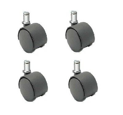 """Set of 4 New Twin Wheel Swivel Casters with 2"""" Wheels With 7/16"""" Grip Ring Stem"""
