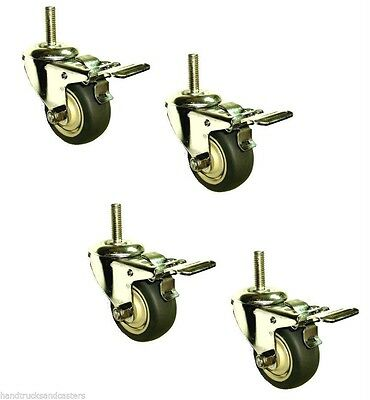"""Set of 4 Stainless Steel Swivel Stem Casters with 3"""" Gray Rubber Wheel & Brake"""