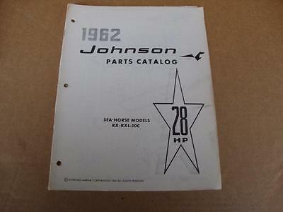 1962 Johnson Sea Horse 28 HP outboard parts catalog 378986 RX RXL 10C