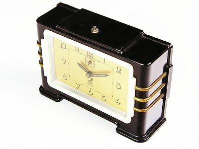 Beautiful Art Deco Alarm Clock Bakelite From Jaz France Golden  Color Clockface