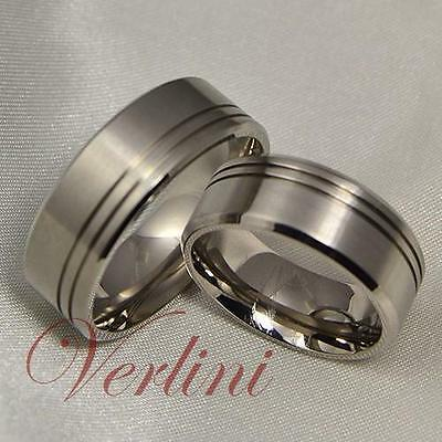 8MM Titanium Wedding Bands Matching Set Rings for His & Her Brushed Size 6-13