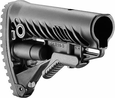 GLR-16-S Fab Defense Black Color Collapsible Polymer Buttstock Anti Slip Buttpad