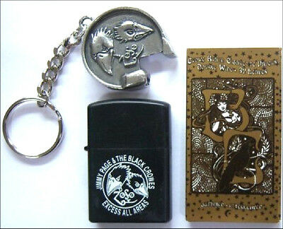 JIMMY PAGE & BLACK CROWES ROLLING PAPERS LIGHTER KEY CHAIN 3 PIECE GIFT SET NEW
