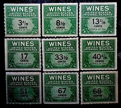 Buffalo Stamps, Scott USA #RE183//RE194 1951 Series Wine Stamps, CV = $315