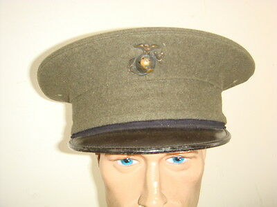 WW 2 US ENLISTED MAN'S US MARINE CORPS VISOR HAT WITH GLOBE AND ANCHOR