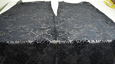 Exquisite Black Silk Antique Burnout Velvet With Wisteria Pp638