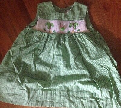 Petit Ami Green / White Gingham Smocked Dress  Size 12 Months
