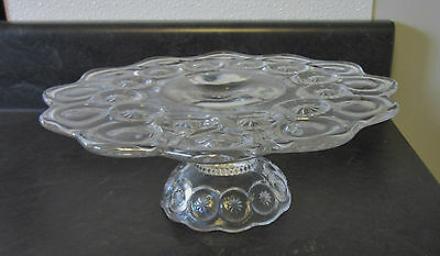 Moon & Stars L E Smith clear pedestal stand pedestal cake plate